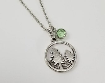 Pine Tree Necklace, Forest Necklace, Hiker Necklace, Nature Lover, Gift For Outdoors Lover, Gift For Hiker, Birthstone Jewelry
