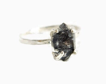 Black Diamond Engagement Ring, Silver Engagement Ring, Herkimer Ring, Engagement Rings, Silver Ring, Black Diamond Ring