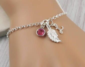 Personalized Wing Bracelet - Sterling Silver Wing, Birthstone and Initial Bracelet, Angel Wing, remembrance jewelry