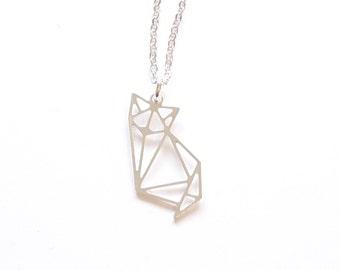 Origami Jewellery Black Silver Mini Cat Origami Necklace jTrrUHmMI