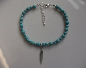 Feather anklet, stretch anklet, gemstone anklet, turquoise anklet, beach anklet, boho anklet, beaded anklet, turquoise jewelry