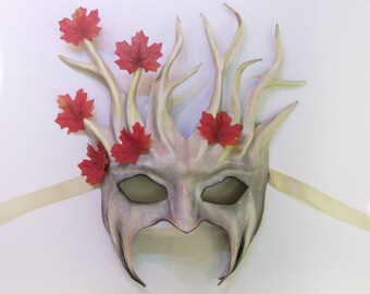 Tree Leather Mask with Fabric Leaves white grey brown with red leaves very light and easy to wear & nice for display too