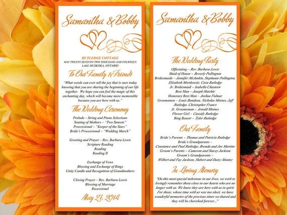 double heart wedding program microsoft word template orange