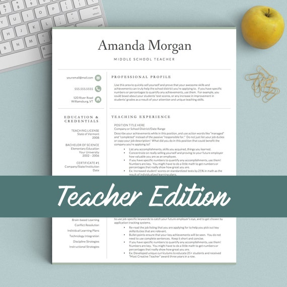 teacher resume template for word and pages 1 2  u0026 3 page