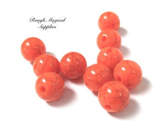 Spicy Pumpkin Orange Beads, 10mm Acrylic Balls, DIY Halloween Costume Jewelry Making, October Crafting, Crackle Plastic 10 Pieces SP780