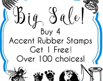SALE Buy 4, 1 Free - Accent Tiny Rubber Stamps - Over 100 choices - Handmade by Blossom Stamps