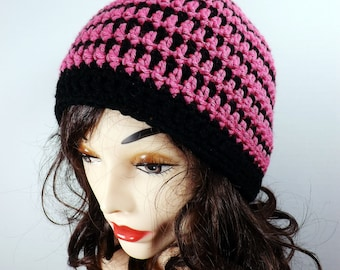 Pink and Black Crochet Striped Beanie Hat