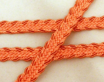 Orange or Coral Chinese Braid Gimp - 1/2 inch wide - 3 yards
