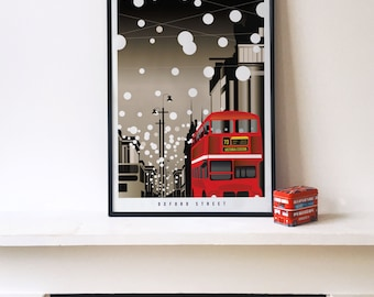 Oxford Street : Christmas in London Illustrated poster print. Giclee Art Prints in A3 A2 sizes. Wall Art, Christmas, Prints of London