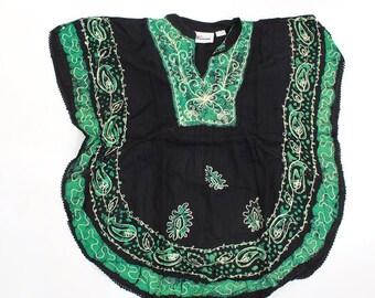 Batik Flower Poncho-Dashiki - Black/Green