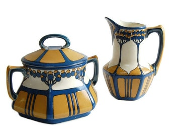 Mettlach Cream and Sugar Set Antique Art Nouveau Villeroy & Boch Jugendstil Etched Stoneware Pottery