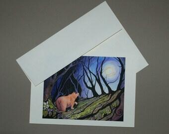 Bear and Tilliium Moon Card 5 x 7