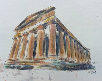 Sicily Temple Original Watercolor Ancient Architecture Art Painting