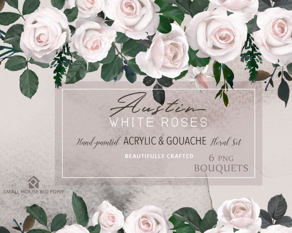 Watercolour Flower Clip Art Collection - Hand Painted Graphics, flower,  hand drawn clip art,  flower clip art - Austin White Roses Bouquets