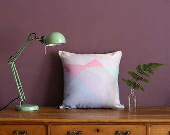 Watercolour Pastel Cushion with Lilac Piping