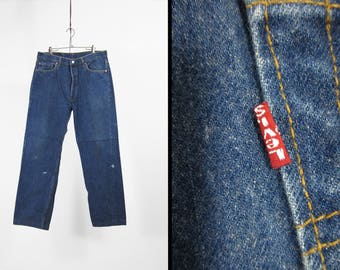 Vintage Levis 501 Jeans Indigo Dark Denim Button Fly Paint Splatter Made in USA - 34 x 30