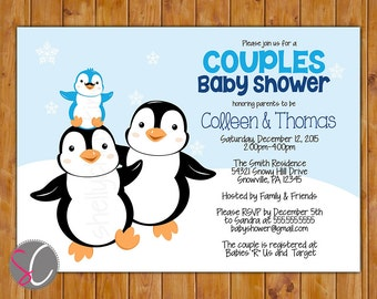 Little Man Couples Baby Shower Invite Mustache Penguin Party Invitation Couple's DIY 5x7 Digital JPG (513)