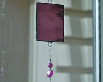 Violet Purple Suncatcher Stained Glass and Beautifully Embellished Glass Beads Hanger In Stock Ready to Hang