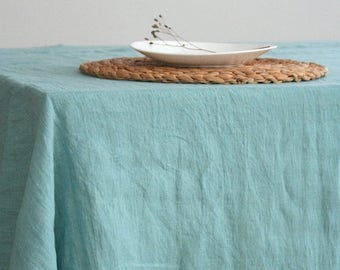 Linen tablecloth. 12 colours. Stone washed linen. Natural tablecloth. Blue tablecloth. Handmade linen tablecloth. Softened linen