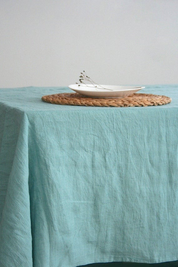 Linen Tablecloth. 12 Colours. Stone Washed Linen. Natural