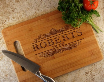 Personalized Bamboo Cutting Board with Family Monogram Design Options and Font Selection (Select Size)