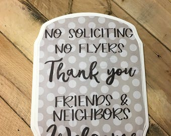 No Soliciting Sign - Curved