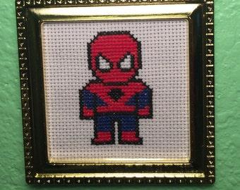 Handmade Spiderman Cross Stitch Wall Art - Ornament