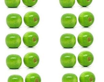 LOT 5 10x9mm green wooden beads