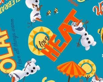 Disney Frozen Olaf Chillin I Love Heat Blue cotton woven BTY