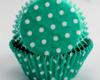 Teal Polka Dot Cupcake Papers