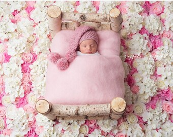 Newborn Baby Photography prop Pink Fluff Blanket Wool Basket Filler RTS UK seller