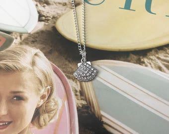 Seashell Clear Swarovski Crystal Necklace
