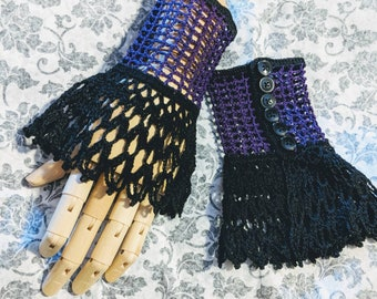Black Purple Two Toned Victorian Mourning Steampunk Gothic Noir Crochet Lace Wrist Cuffs