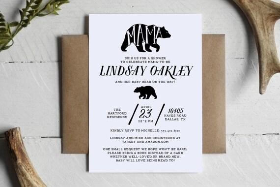 Printable mama bear rustic baby shower invitation custom filmwisefo
