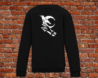 Raven sweater, bird sweater, edgar allen poe sweater, tattoo shirt, classic tattoo art, old school shirt, hipster gift, gift tattoo lover
