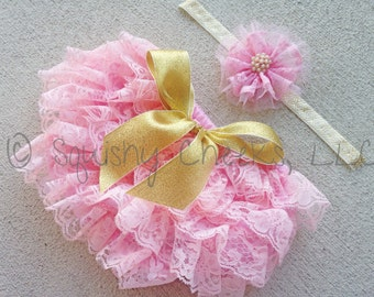 Pink and Gold Lace Bloomers and Headband, Ruffled Lace Bloomers, Baby Bloomers, Baby Girl Diaper Cover, Photo Prop, Smash Cake Outfit