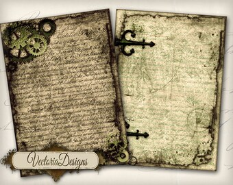 Steampunk ATC vintage images digital background instant download printable collage sheet VD0254