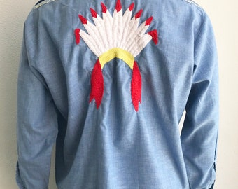 Vintage 1970's Indian Headdress Embroidered Chambray Shirt size Medium