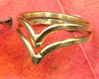 Brass ring double pointed shaped