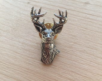 Stag Head Pewter Pin/ Brooch/ Badge