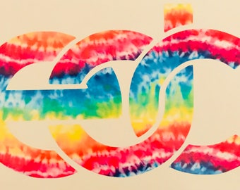 Edc rainbow tie-dye vinyl decal sticker