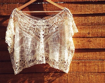 Boho Embroidered Crochet Lace Crop Top, Bohemian sheer lace kimono, One size fits all S M L
