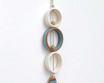 One Of A Kind Wall Hanging / Turquoise Wall Ornament / Ceramic Wall Decor / Bohemian Modern Decor / Modern Wall Art / READY TO SHIP