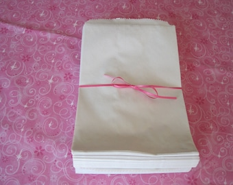 100 White Paper Bags, Gift Bags, Kraft Paper Bags, Candy Bags, Paper Gift Bags, Retail Bags, Merchandise Bags, 6x9