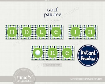 Golf - Hole in One Banner - Birthday Banner - Instant Download - Golf Birthday Collection by Tania's Design Studio
