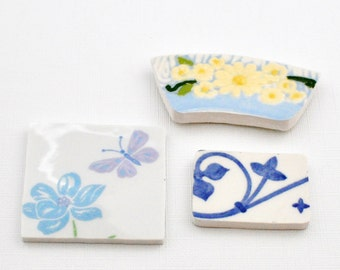 Broken China Mosaic Tiles - Focal Tiles -Recycled Plates - Butterfly - Yellow Flower - Blue Swirls - Set of 3