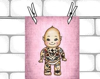Pink Tattoo Baby Kewpie Doll-  8x10  Illustration Art Print - Baby Nursery Decor  - Kewpie Doll Art