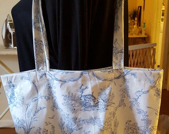 Unique Market Bag - Toile French Provincial Blue and White