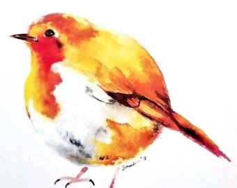 ROUND English Robin Watercolor Art Print (4x6in)