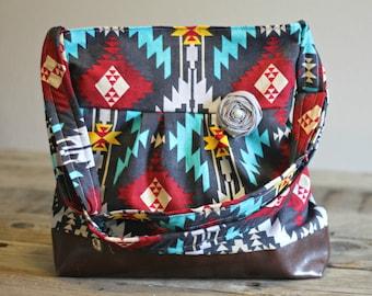 Crossbody Purse, Messenger Bag, Meduim Faux Leather Bag, Azteca Handbag, Tribal Purse, Vegan Leather Purse, Pleated Purse